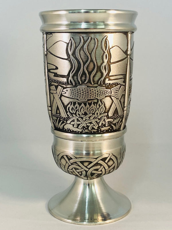 SALMON OF KNOWLEDGE GOBLET IN PEWTER METAL WITH SOFT SILVER FINISH. ÉTAIN HARTZINN PELTRO