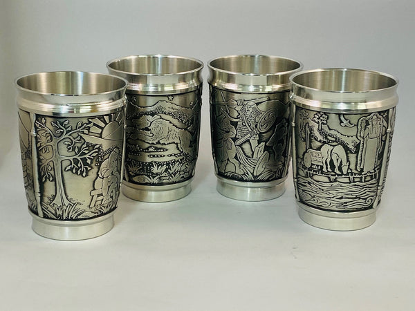 IRISH LEGEND BEAKERS SET OF FOUR MADE OF PEWTER METAL IN SOFT SILVER FINISH. ÉTAIN PELTRO HARTZINN