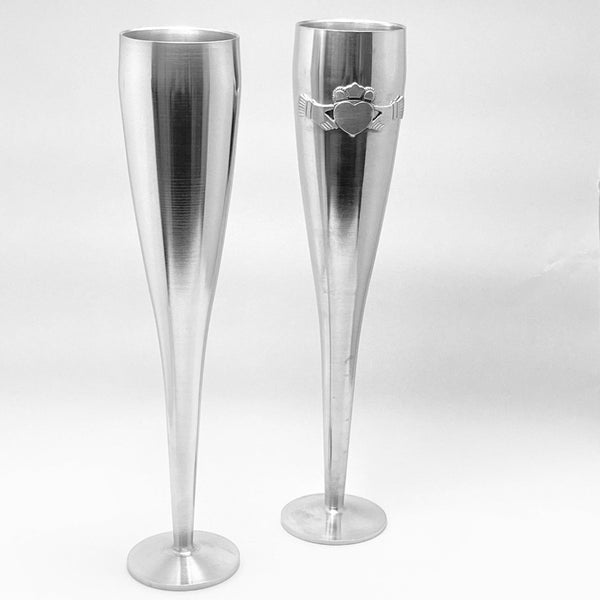 "Wedding Flutes  (10"" high) Claddagh/Plain. SHIPPING INCLUDED"
