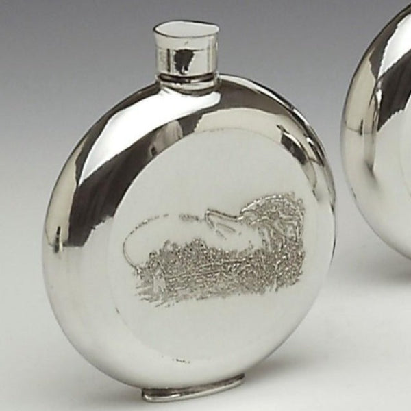 PEWTER ROUND FISH FLASK