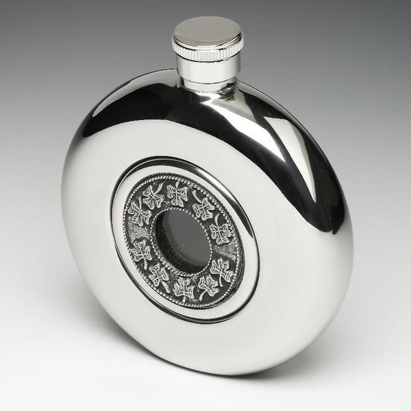 WHISKEY FLASK WITH GLASS CENTRE AND SHAMROCK DESIGN