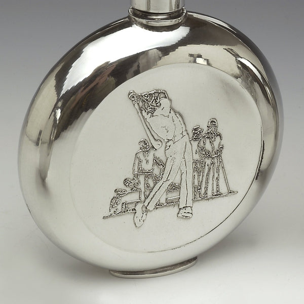 PEWTER ROUND GOLFER FLASK