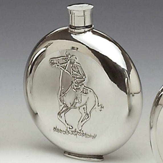 PEWTER ROUND RACE HORSE FLASK