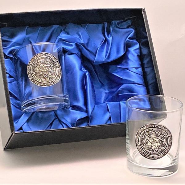 SET OF TWO WHISKEY GLASS TUMBLERS WITH CELTIC DESIGN