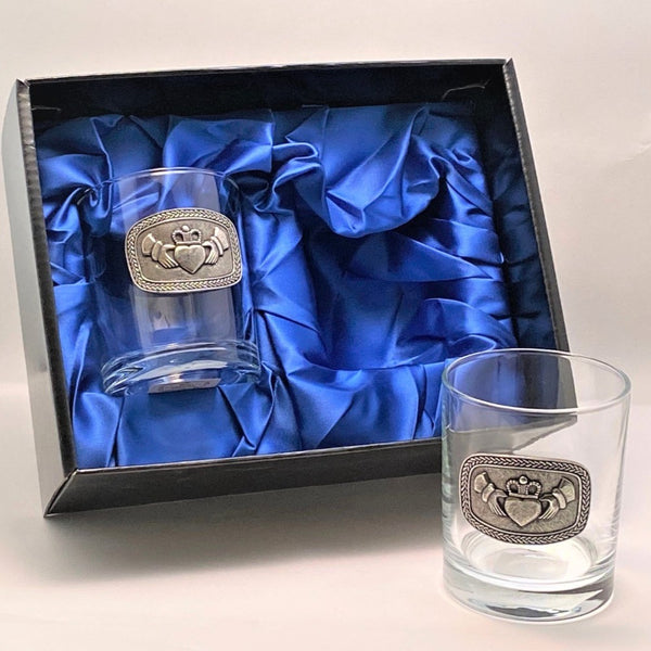SET OF TWO WHISKEY GLASS TUMBLERS WITH CELTIC  AND CLADDAGH DESIGN