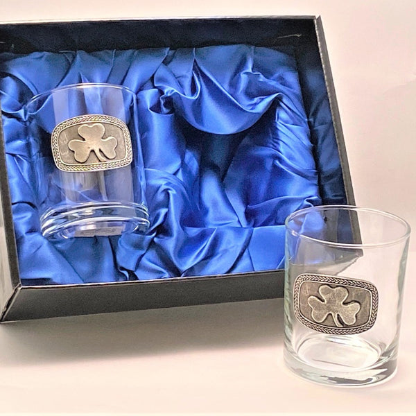 SET OF TWO WHISKEY GLASS TUMBLERS WITH CELTIC AND SHAMROCK DESIGN
