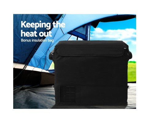 55L Portable Fridge & Freezer Cooler Black with Bonus Insulated Bag - All About Camping