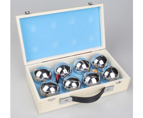Deluxe Boules Bocce 8 Alloy Ball Set with Wooden Case - All About Camping