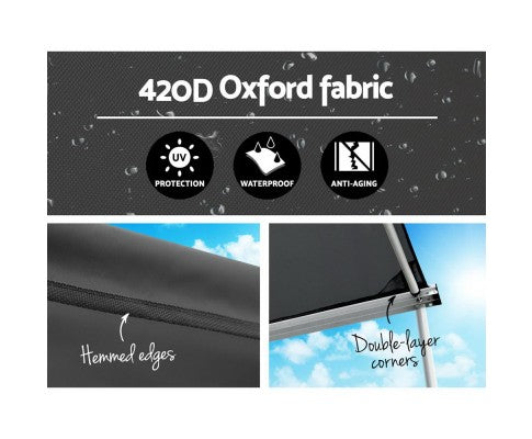 Car Shade Awning 2.5 x 3M - Charcoal Black - All About Camping