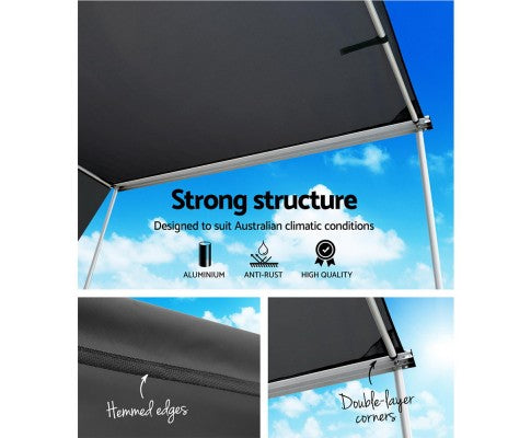 Car Shade Awning 2.5 X 3M W/ Extension 3 X 2M Charcoal Black - All About Camping