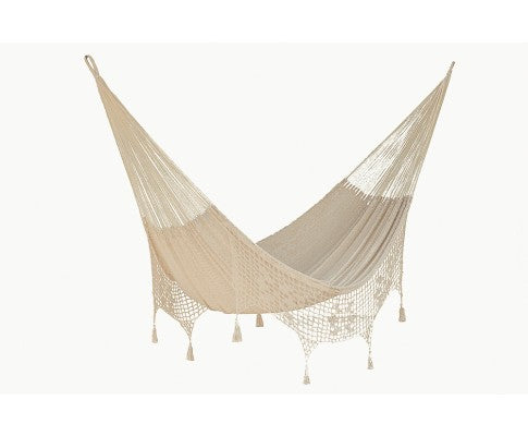 Boho Outdoor Cotton Hammock in Cream Colour King Size - All About Camping