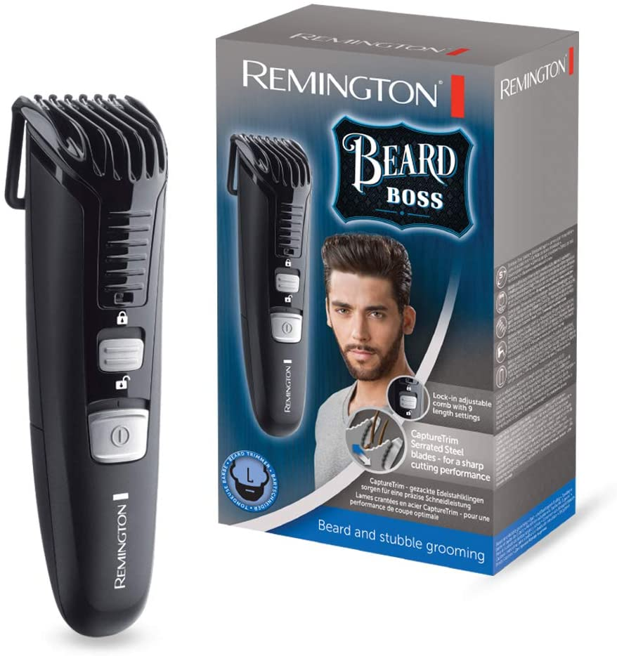 Remington Beard Boss Beard and Stubble Trimmer with Lock-In Adjustable Comb and Stainless Steel Serrated Blades MB4120