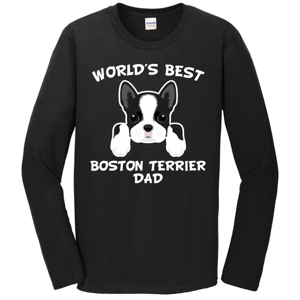 World's Best Boston Terrier Dad Dog Owner Long Sleeve T-Shirt