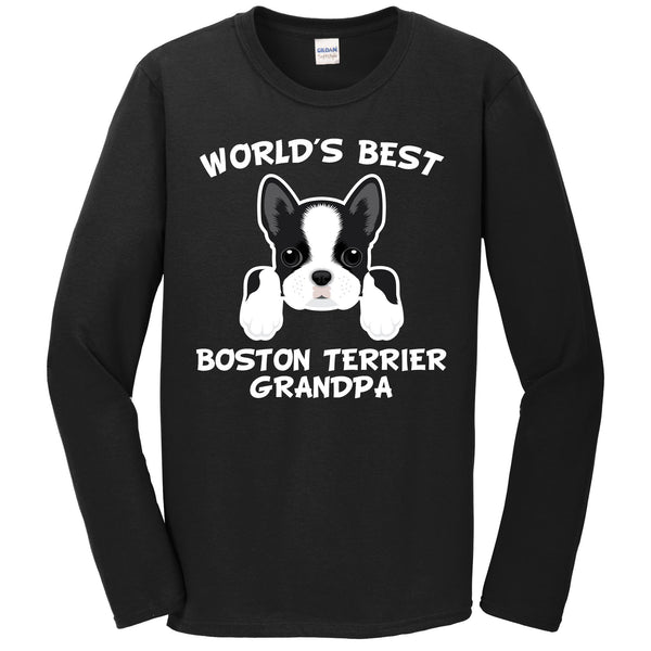 World's Best Boston Terrier Grandpa Dog Granddog Long Sleeve T-Shirt