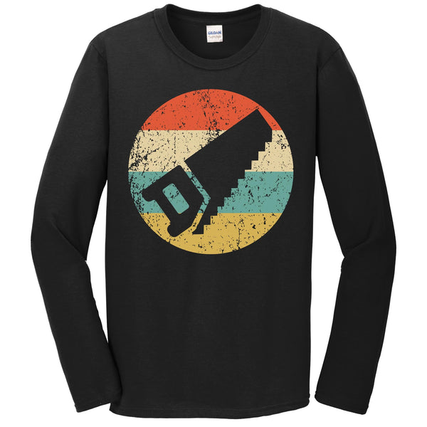 Carpenter Shirt - Vintage Retro Handsaw Long Sleeve T-Shirt