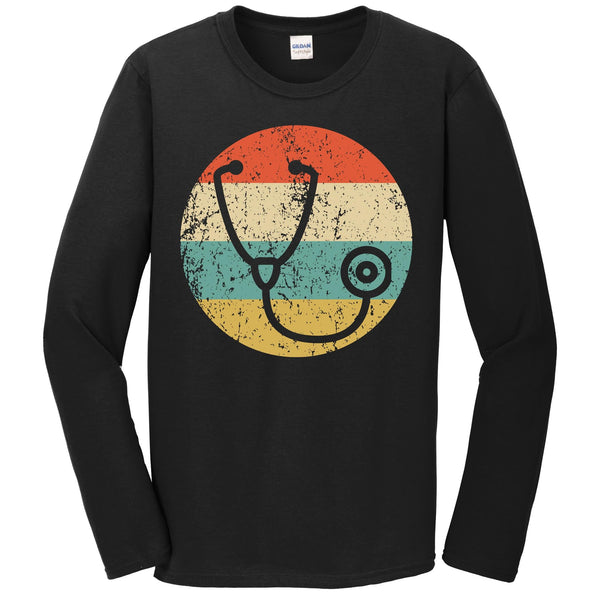 Doctor Nurse Shirt - Vintage Retro Stethoscope Long Sleeve T-Shirt
