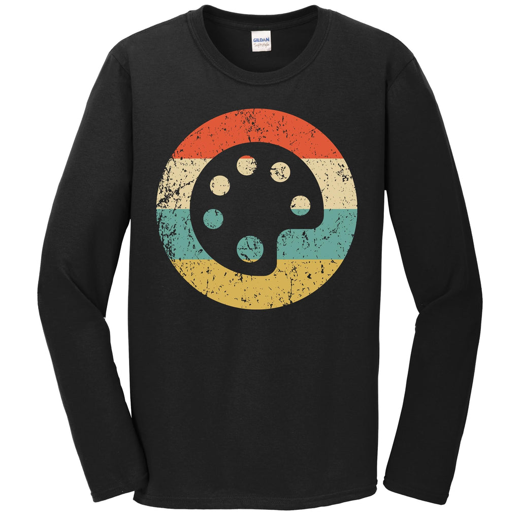 Artist Art Teacher Shirt - Retro Paint Palette Long Sleeve T-Shirt