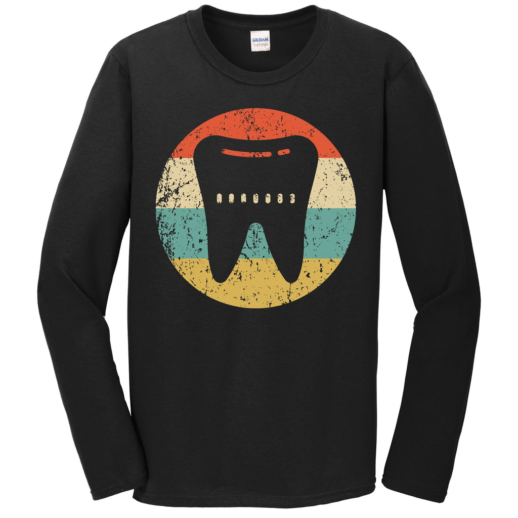 Dentist Orthodontist Shirt - Vintage Retro Tooth Long Sleeve T-Shirt