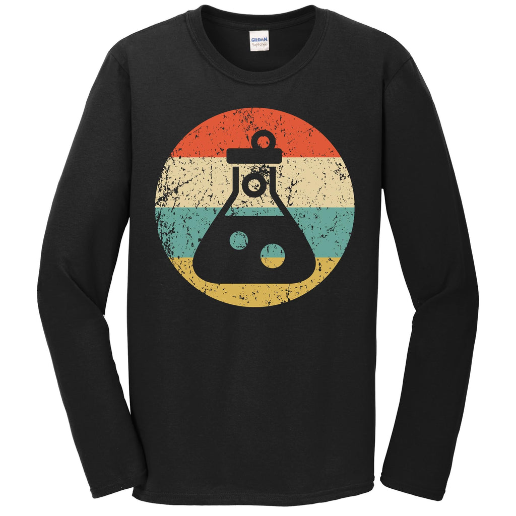 Chemist Scientist Shirt - Retro Test Tube Flask Long Sleeve T-Shirt