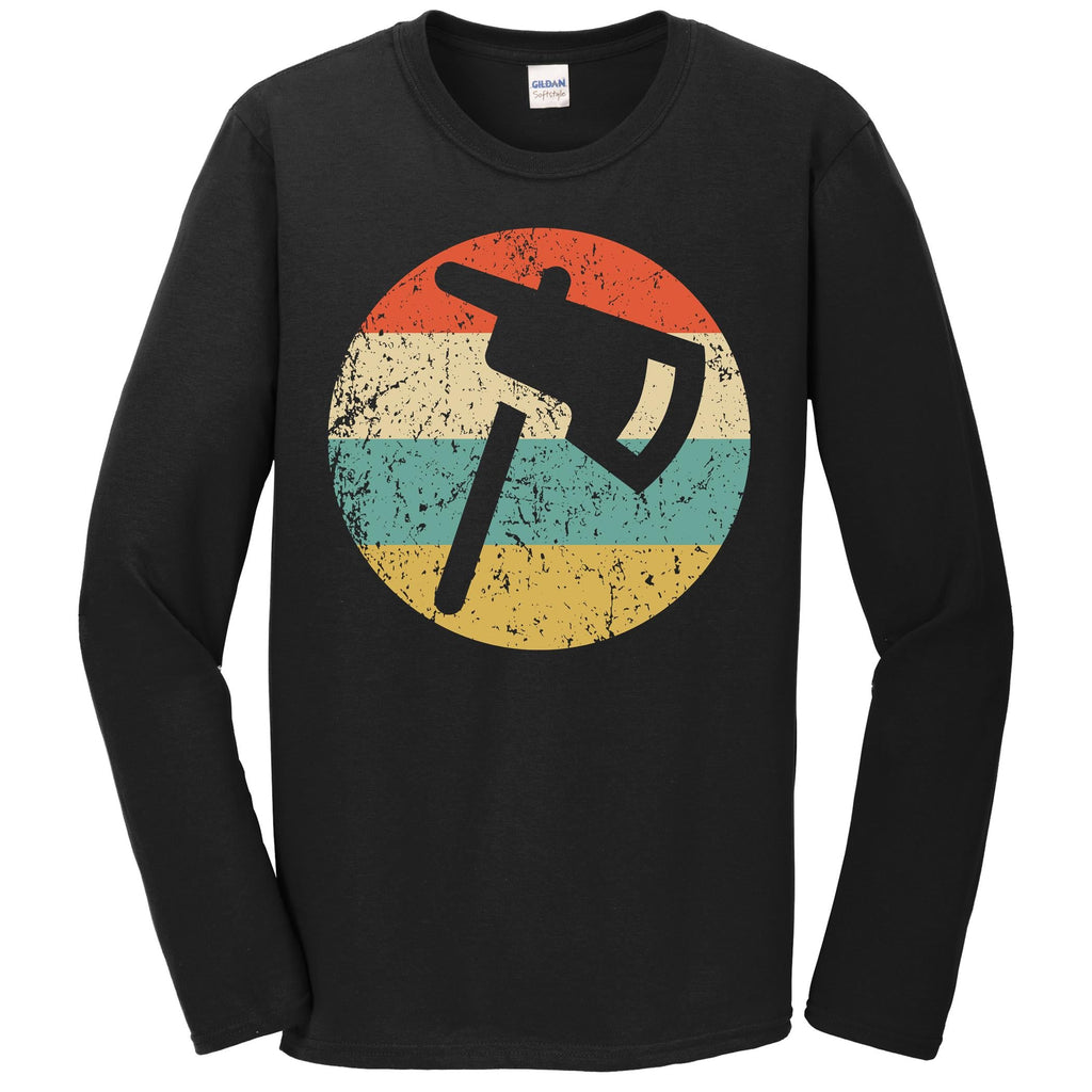 Firefighter Fireman Shirt - Retro Fire Axe Long Sleeve T-Shirt