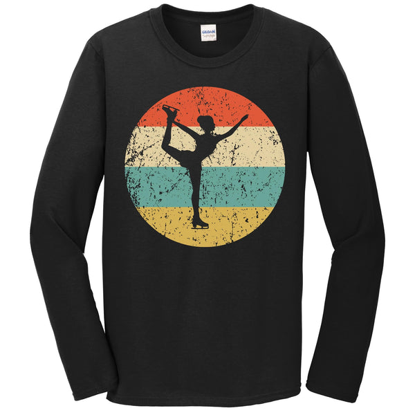 Figure Skating Shirt - Vintage Retro Figure Skater Long Sleeve T-Shirt