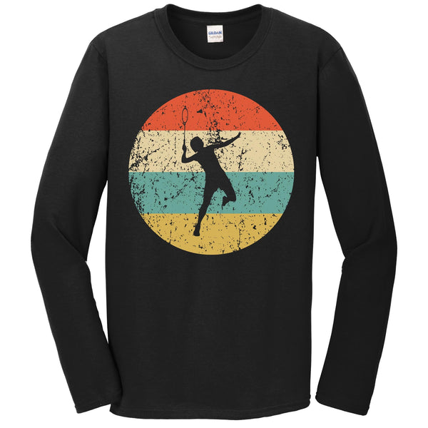 Badminton Shirt - Vintage Retro Badminton Player Long Sleeve T-Shirt