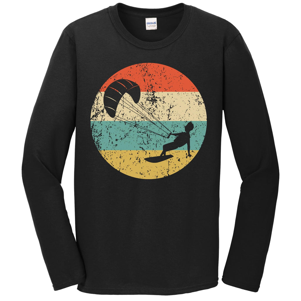 Kite Surfing Shirt - Vintage Retro Kite Surfer Long Sleeve T-Shirt