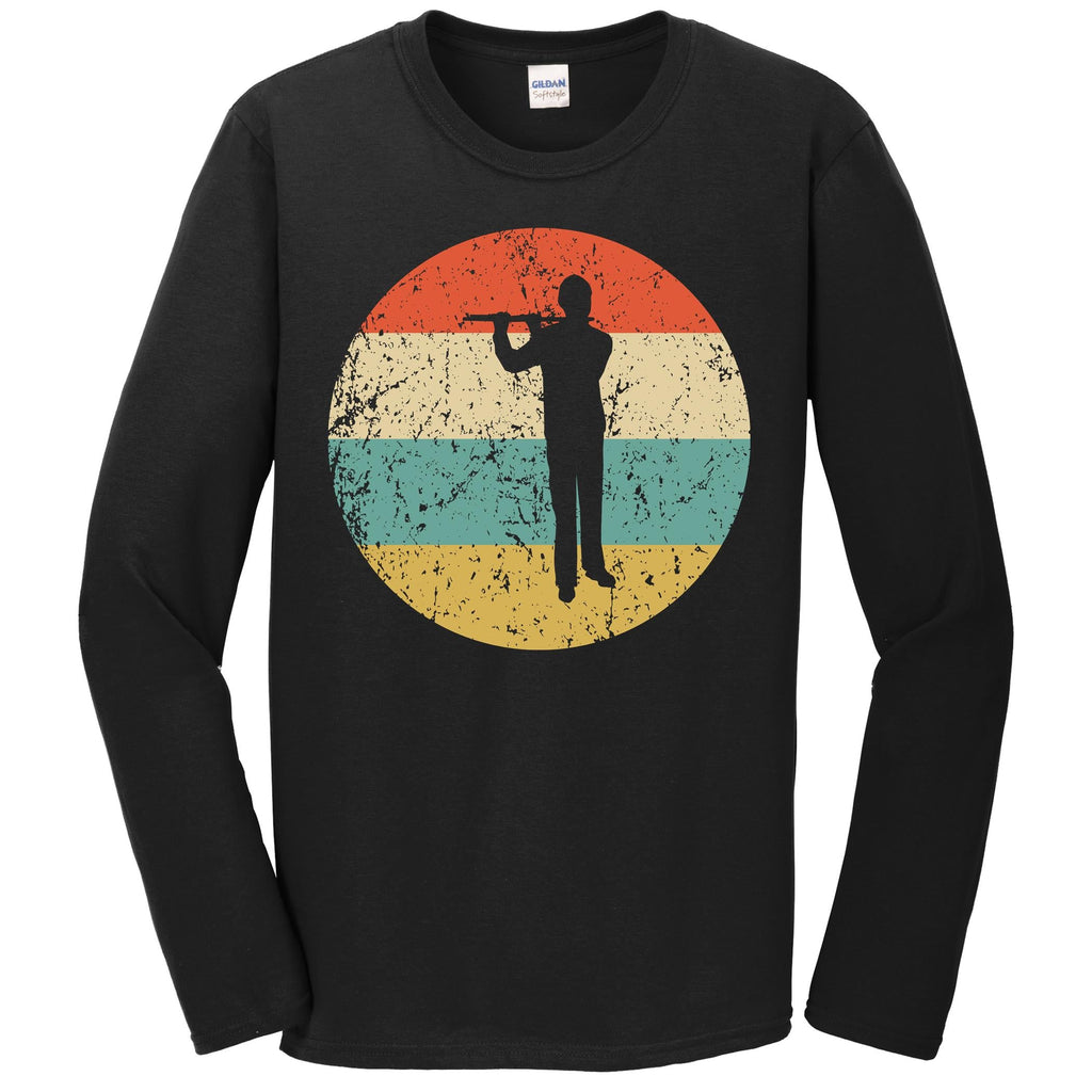 Flute Shirt - Vintage Retro Music Long Sleeve T-Shirt
