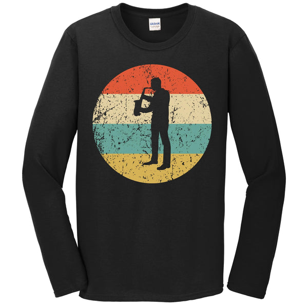 Saxophone Shirt - Vintage Retro Music Long Sleeve T-Shirt
