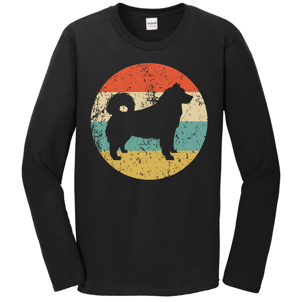 Alaskan Malamute Shirt - Retro Alaskan Malamute Dog Long Sleeve T-Shirt