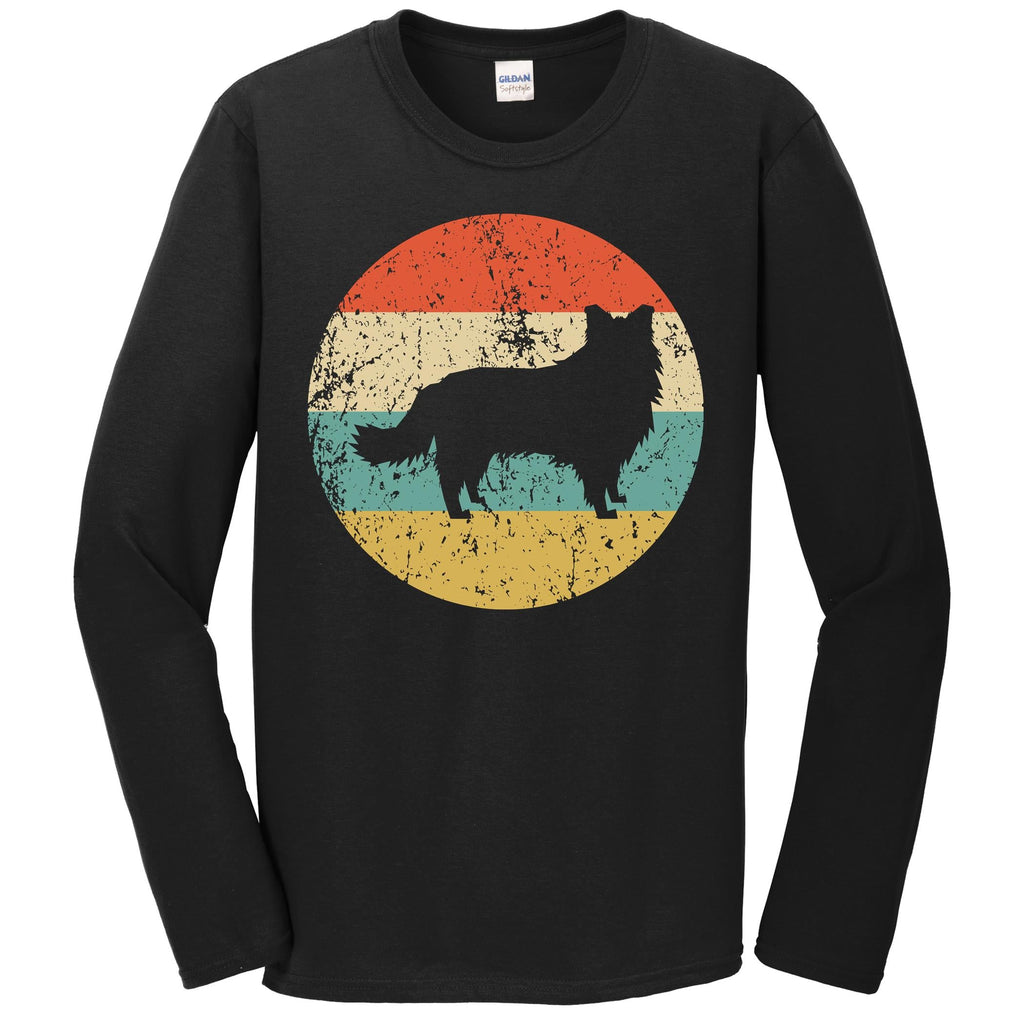 Border Collie Shirt - Vintage Retro Border Collie Dog Long Sleeve T-Shirt