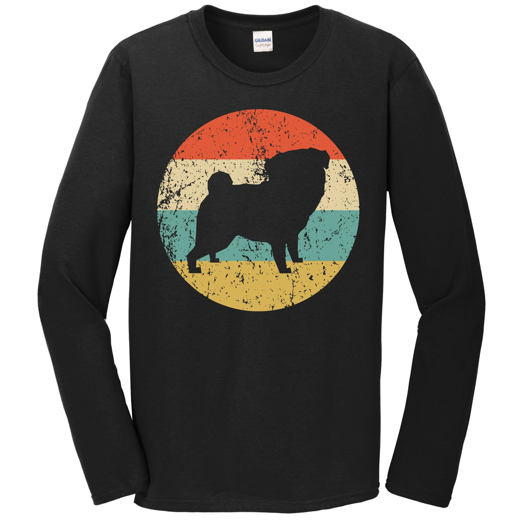 Pug Shirt - Vintage Retro Pug Dog Long Sleeve T-Shirt