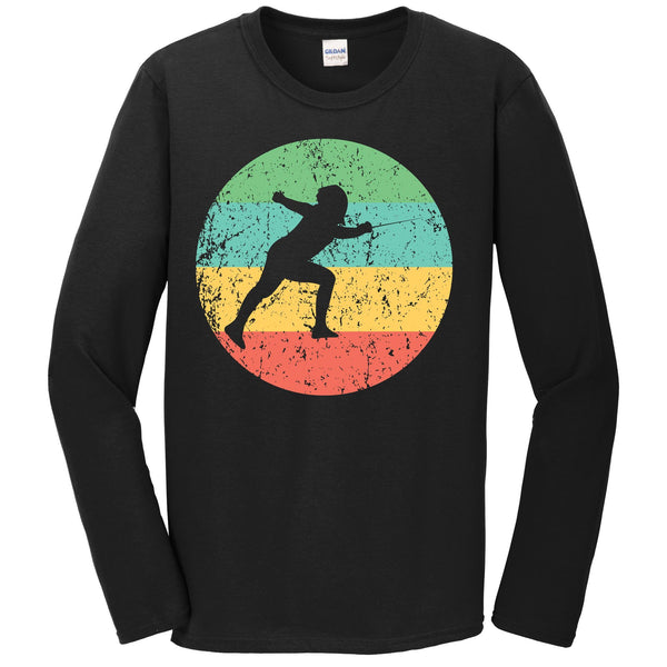 Fencing Long Sleeve Shirt - Vintage Retro Fencer T-Shirt