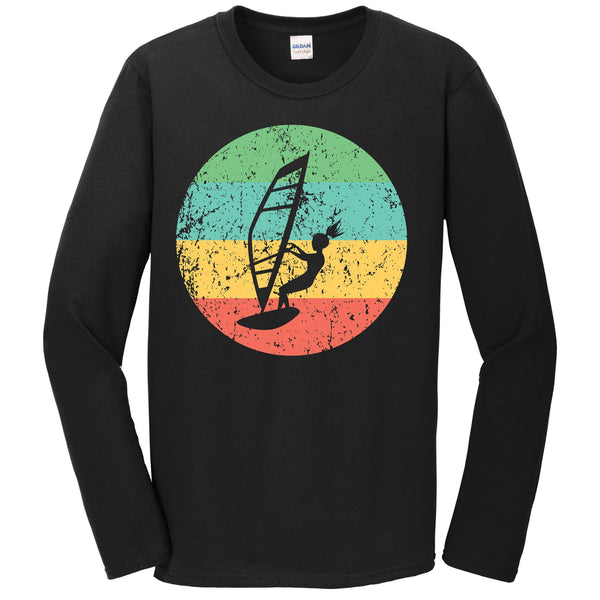 Windsurfing Long Sleeve Shirt - Vintage Retro Windsurfer T-Shirt