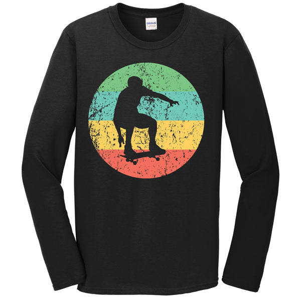 Skateboarding Long Sleeve Shirt - Vintage Retro Skateboarder T-Shirt