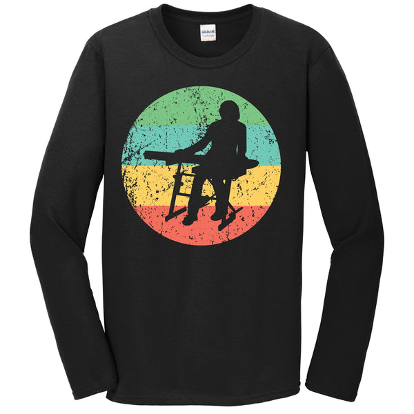 Keyboard Long Sleeve Shirt - Vintage Retro Music T-Shirt