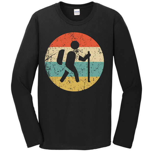 Hiking Long Sleeve Shirt - Retro Hiker Icon T-Shirt