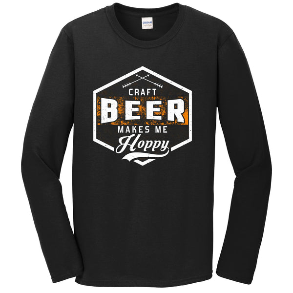 Craft Beer Makes Me Hoppy Funny Drinking Long Sleeve T-Shirt