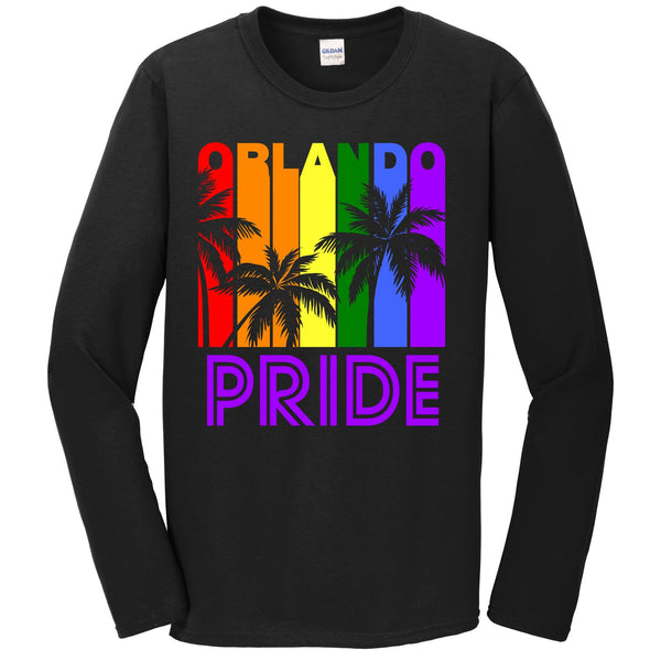Orlando Pride Gay Pride LGBTQ Rainbow Palm Trees Long Sleeve T-Shirt