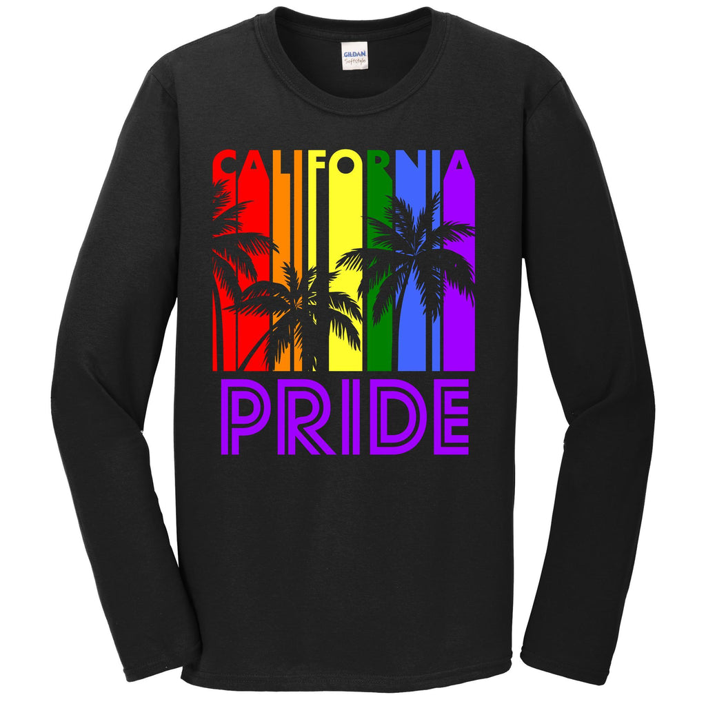 California Pride Gay Pride LGBTQ Rainbow Palm Trees Long Sleeve T-Shirt