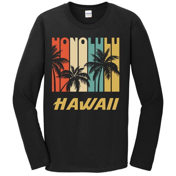 Retro Honolulu Hawaii Palm Trees Vacation Long Sleeve T-Shirt