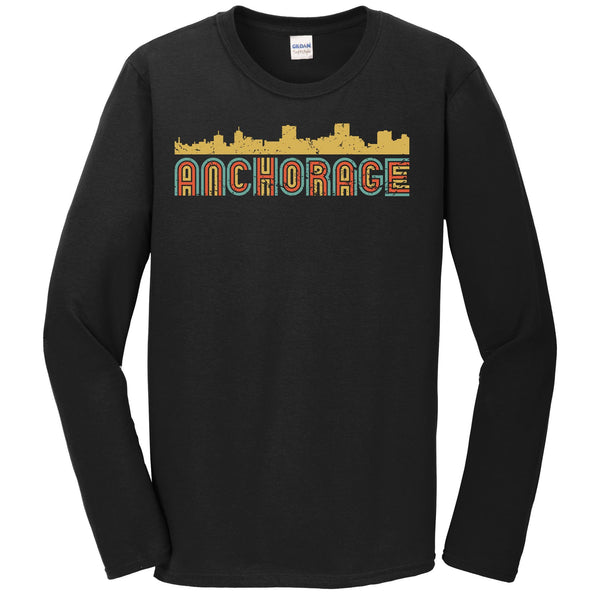 Retro Anchorage Alaska Skyline Long Sleeve T-Shirt