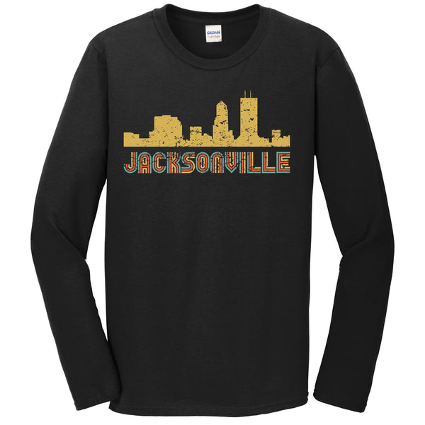 Retro Jacksonville Florida Skyline Long Sleeve T-Shirt