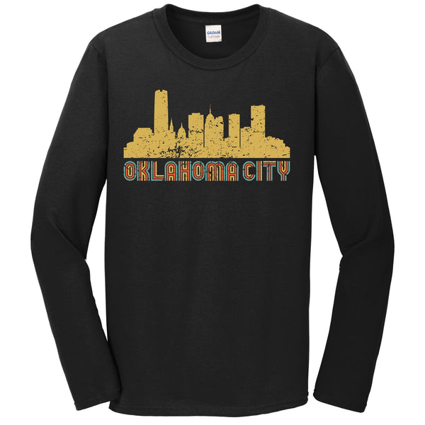 Retro Oklahoma City Oklahoma Skyline Long Sleeve T-Shirt