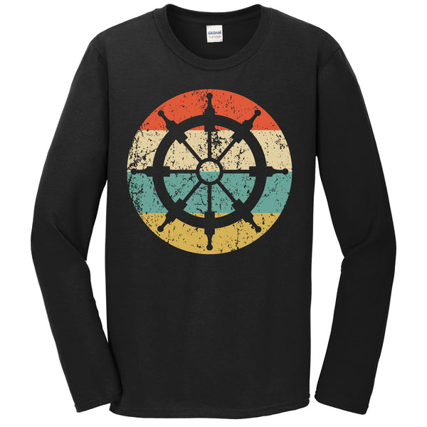 Nautical Sailing Retro Sailboat Steering Wheel Icon Long Sleeve T-Shirt