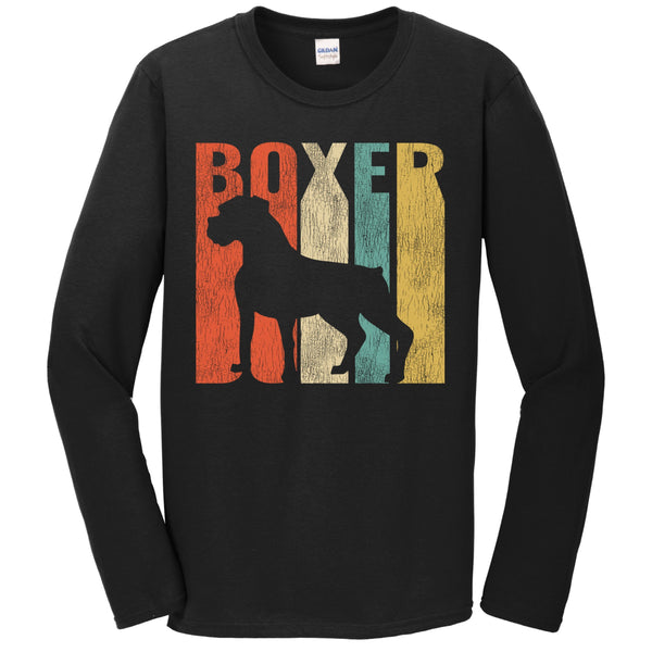 Retro 1970's Style Boxer Dog Silhouette Cracked Distressed Long Sleeve T-Shirt