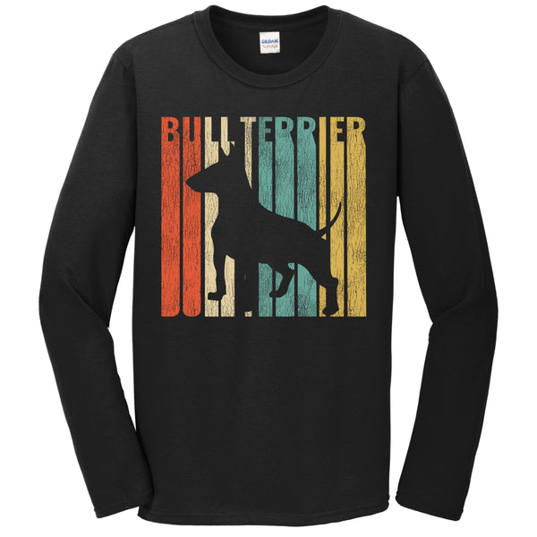 Retro 1970's Style Bull Terrier Dog Silhouette Cracked Distressed Long Sleeve T-Shirt