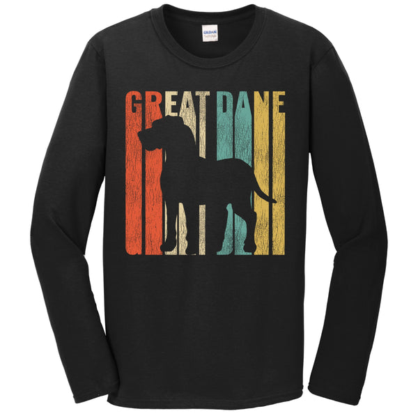 Retro 1970's Style Great Dane Dog Silhouette Cracked Distressed Long Sleeve T-Shirt