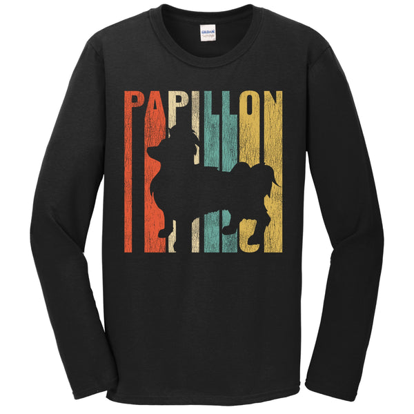 Retro 1970's Style Papillon Dog Silhouette Cracked Distressed Long Sleeve T-Shirt