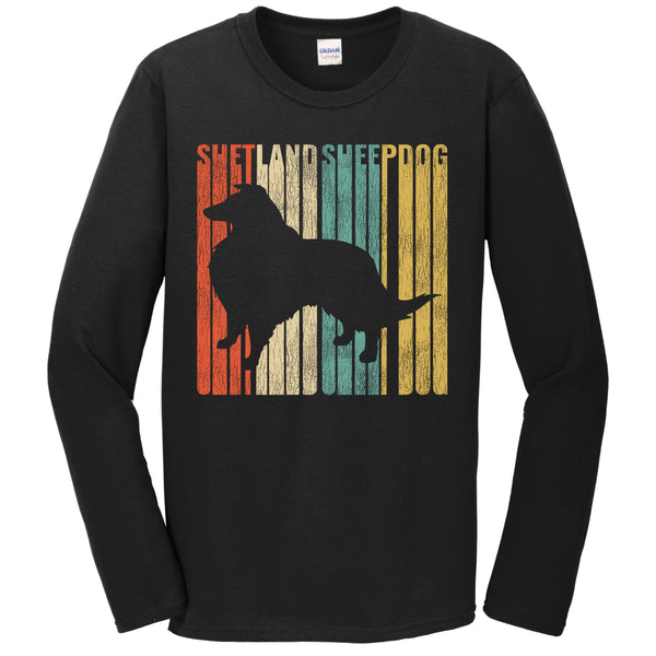 Retro 1970's Style Shetland Sheepdog Dog Silhouette Sheltie Cracked Distressed Long Sleeve T-Shirt